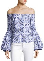 Caroline Constas Gisele Off-the-Shoulder Blouse, Blue