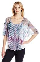 OneWorld Women's Shadow Stripe Overlay with Cold Shoulders and Bling