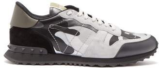 Valentino Rockrunner Camouflage Leather And Suede Trainers - Mens - Grey Multi