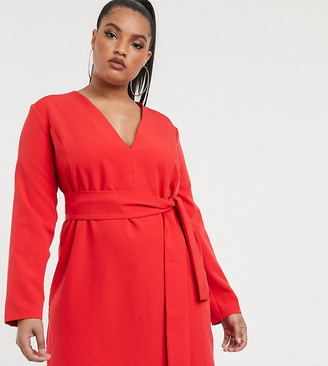 Vesper Plus tailored tux dress with tie front in red