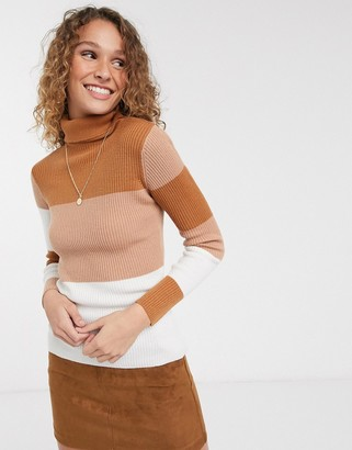Brave Soul squarey jumper with banded stripes in skinny rib