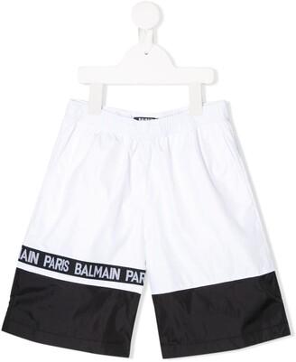 Balmain Kids logo lined swimming shorts