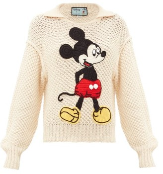Gucci Mickey Mouse Crochet-applique Wool Sweater - Womens - Ivory