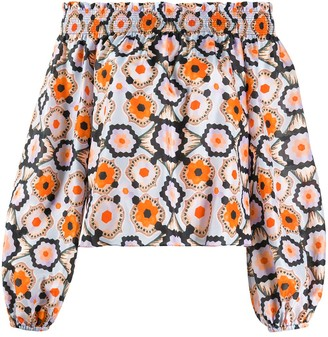 Temperley London Crochet-Print Off-Shoulder Blouse