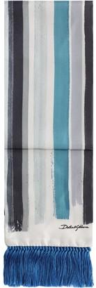 Dolce & Gabbana Stripe-Print Fringed-Edge Scarf