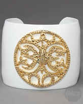 Medallion Enamel Cuff in White