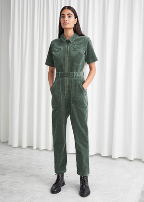 And other stories Fitted Belted Short Sleeve Jumpsuit