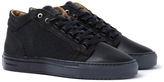 Android Homme Propulsion Mid Black Textured Leather Trainers