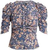 Isabel Marant Brizo ruffle-trimmed floral-print stretch-silk top
