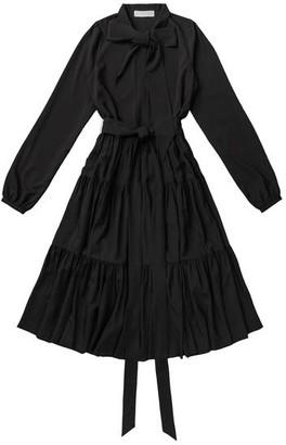 Cathrine Hammel - Bowtie Peplum Midi Dress W Long Sleeves Black - S - UK8/10 / Black