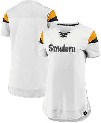 Women's NFL Pro Line by Fanatics Branded White Pittsburgh Steelers Draft Me Lace-Up T-Shirt