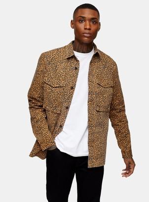 Topman Stone Leopard Print Oversized Shirt