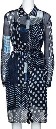 Diane von Furstenberg Indigo Patchwork Print Silk Prita Long Shirt Dress L
