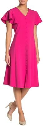 Nina Leonard Flutter Sleeve Button Front Midi Dress