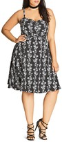 City Chic Diva Floral Print Dress