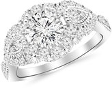 Houston Diamond District 1.75 Carat Designer Vintage Halo Diamond Engagement Ring Platinum with a 1 Carat Round Cut Moissanite (Heirloom Quality)