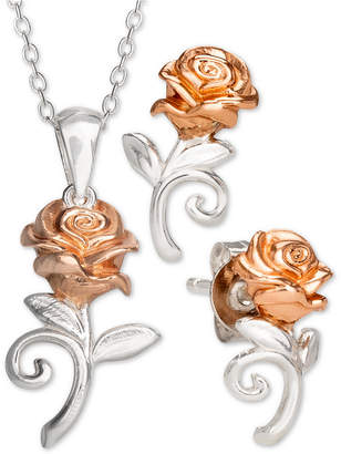 Disney Children 2-Pc. Set Beauty & the Beast Pendant Necklace & Matching Stud Earrings in Sterling Silver & 18k Rose Gold-Plate