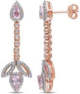 Ice Sofia B 1 1/4 CT TW Diamond, Rose de France and Topaz Silver Dangle Earrings