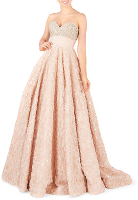 Mac Duggal Strapless Sweetheart Pearly Rhinestone Bustier & Rosette Ball Gown