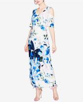 Rachel Roy Printed Cold-Shoulder Maxi Dress