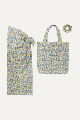 Faithfull The Brand Floral-print Cotton Pareo, Tote And Hair Tie Set - Bright blue