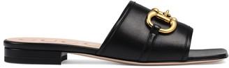 Gucci Women's leather slide sandal with Horsebit