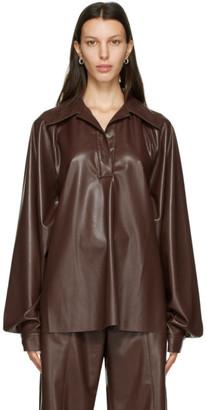Nanushka Burgundy Vegan Leather Keiron Blouse