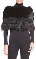 Carolyn Rowan Adler Mink Fur Capelet W/Feather Trim, Black
