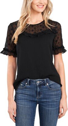 CeCe Floral Embroidered Sheer Yoke Short Sleeve Blouse