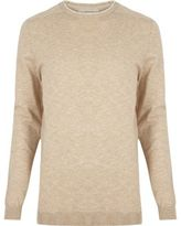 River Island Mens Stone crew neck jumper