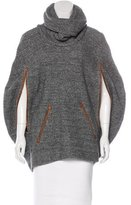 Yigal Azrouel Leather-Trimmed Wool Cape