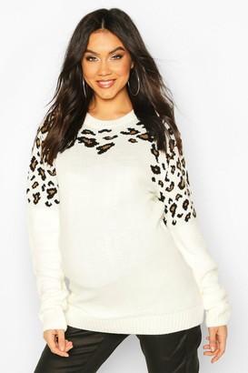 boohoo Maternity Leopard Knit Sweater