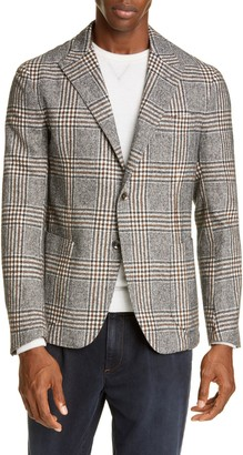 Eleventy Slim Fit Plaid Silk Blend Sport Coat