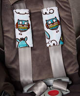 Owl & Taupe Reversible Car Seat Strap Cover Set