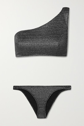 Lisa Marie Fernandez + Net Sustain Arden One-shoulder Metallic Bikini - Gunmetal