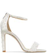 Jimmy Choo DEIA 100 Ivory Satin Stiletto Sandals with Flower Sequin Embroidery