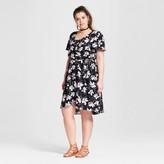 Lily Star Women's Plus Size Floral Print Wrap Dress Black