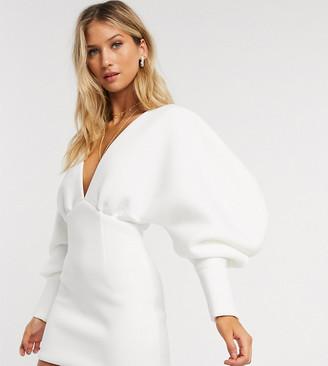 True Violet exclusive plunge neck balloon sleeve mini dress in white
