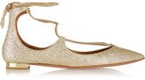 Aquazzura Christy Glittered Leather Point-toe Flats - Gold