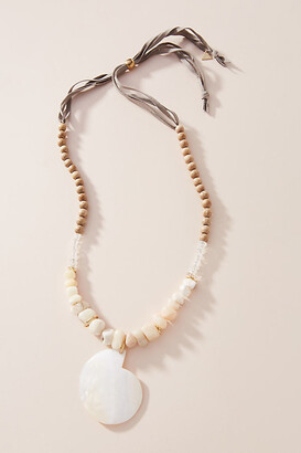 Serefina Tess Shell Pendant Necklace By in Beige Size ALL