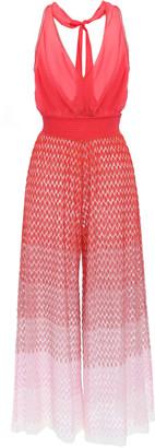 Missoni Mare Shirred Degrade Crochet-knit And Crepe De Chine Jumpsuit