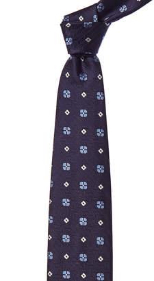 Ermenegildo Zegna Navy Tile Silk Tie