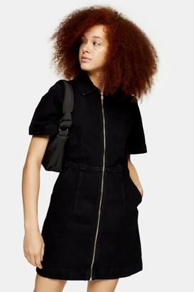 Topshop Womens Black Denim Zip Through Short Sleeve Shirt Dress - Washed Black