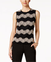 Kasper Lace Chevron-Pattern Shell
