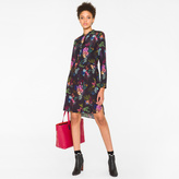 Paul Smith Women's Navy Silk Shirt-Dress With 'Ocean Floral' Print