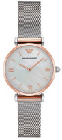 Emporio Armani Gianni T-Bar Two Tone Silver/Rose Stainless Steel Mesh Watch