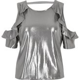 River Island Womens Silver frill cold shoulder top