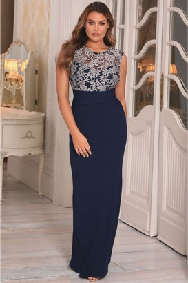 Jessica Wright Sistaglam Loves Tyler Navy Lace Maxi Dress