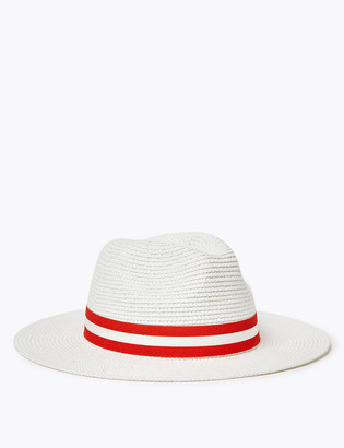 Marks and Spencer Striped Ribbon Detail Fedora Hat