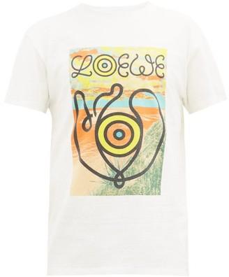 eye/LOEWE/nature Landscape-print Slubbed Cotton-jersey T-shirt - Mens - White